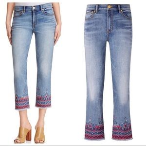 Tory Burch Myers Cropped Boot Embroidered Jeans 28